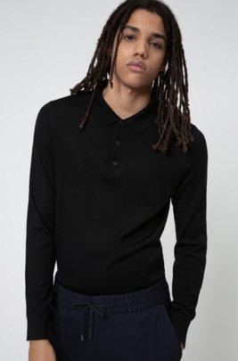 Merino-wool-blend sweater with polo collar, Black