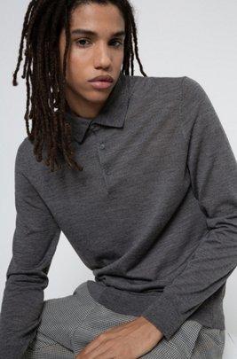 Merino-wool-blend sweater with polo collar, Dark Grey
