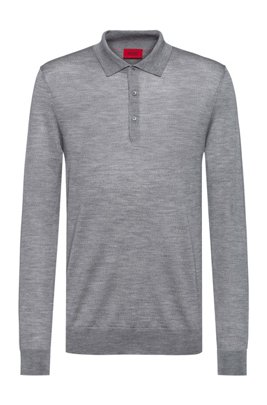 Merino-wool-blend sweater with polo collar, Silver
