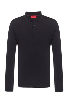 Merino-wool-blend sweater with polo collar, Dark Blue