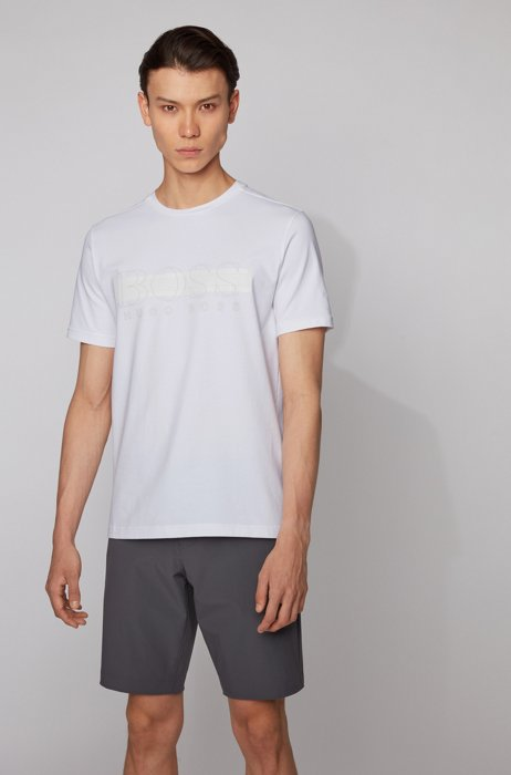 Crew-neck T-shirt in stretch cotton with logo print, White
