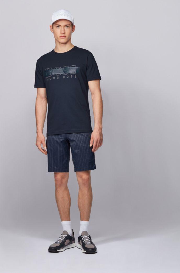T-shirt a girocollo in cotone elasticizzato con logo riflettente