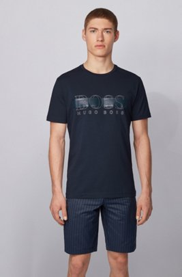 Crew-neck T-shirt in stretch cotton with reflective logo, Dark Blue