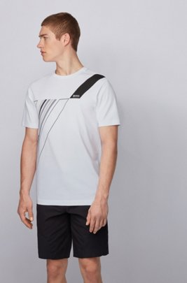 Crew-neck T-shirt in stretch cotton with reflective artwork, White