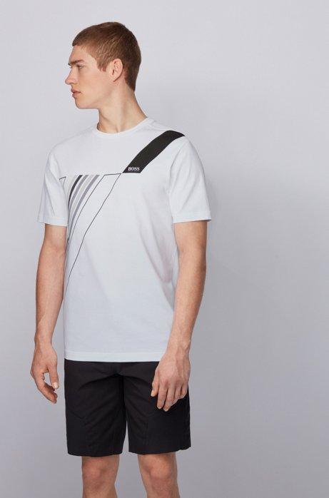 T-Shirt aus Stretch-Baumwolle mit Rundhalsausschnitt und reflektierendem Artwork, Weiß