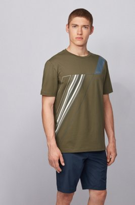 Crew-neck T-shirt in stretch cotton with reflective artwork, Dark Green