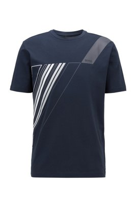 Crew-neck T-shirt in stretch cotton with reflective artwork, Dark Blue