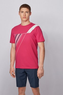 Crew-neck T-shirt in stretch cotton with reflective artwork, Pink