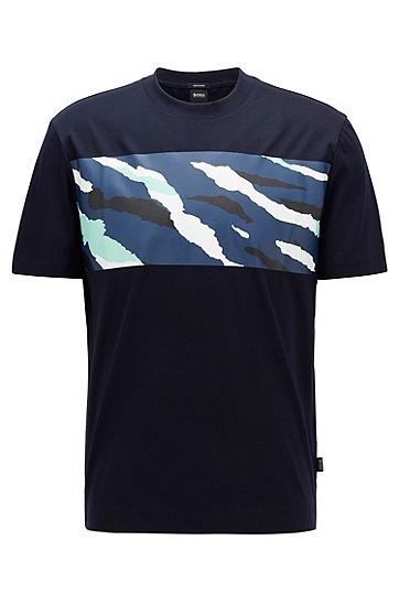 色块艺术图案丝光棉 T 恤,  402_暗蓝色