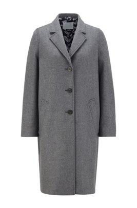 Single-breasted coat in a melange virgin-wool blend, Grey