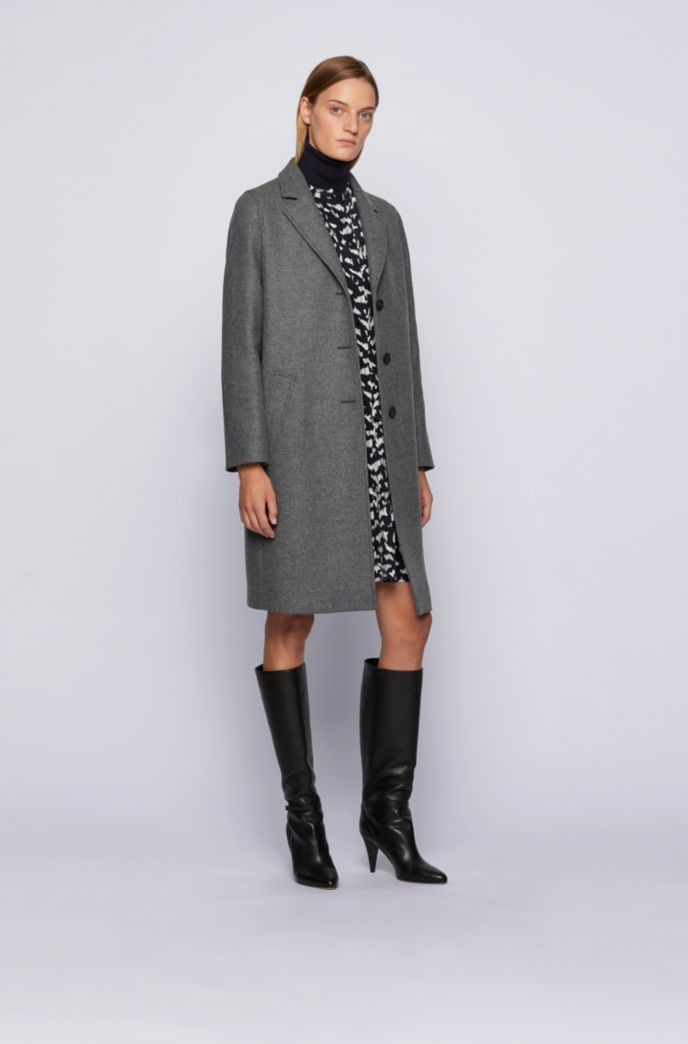 Single-breasted coat in a melange virgin-wool blend