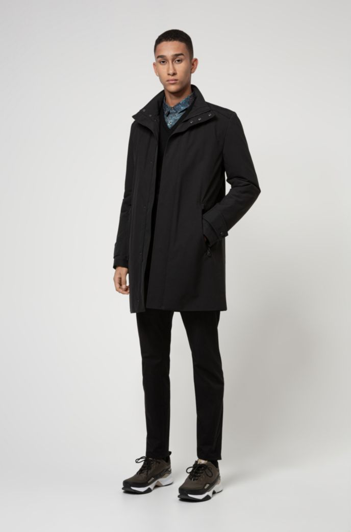 Slim-fit coat in water-repellent recycled fabric