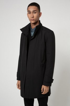Slim-fit coat in water-repellent recycled fabric, Black