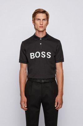 Logo-print polo shirt in mercerised cotton piqué, Black