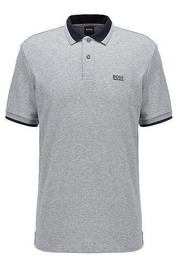 饰以撞色细节的棉质 Polo 衫,  044_银灰色