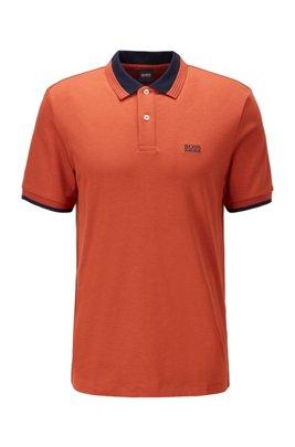 Cotton polo shirt with contrast details, Light Orange