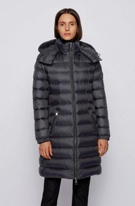 Long-length packable down coat in water-repellent fabric, Black