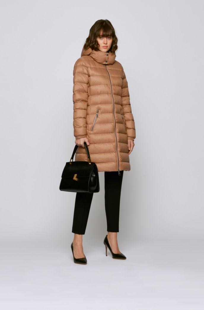 Long-length packable coat in water-repellent fabric