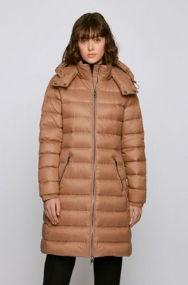 Long-length packable coat in water-repellent fabric, Light Brown