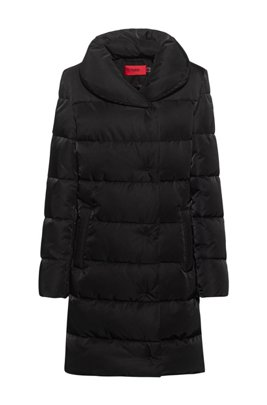 Long padded jacket in recycled material, Black