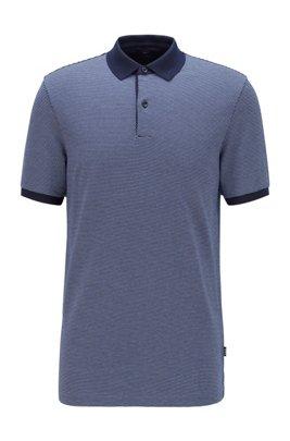 Polo Slim Fit en coton à motif, Bleu foncé