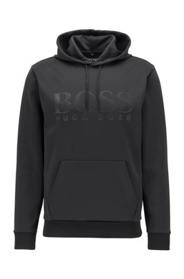 Hooded sweatshirt in double-faced recycled fabric with stretch, Black