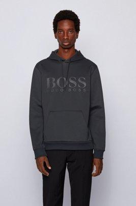 Kapuzen-Sweatshirt aus zweiseitigem, recyceltem Stretch-Gewebe, Schwarz