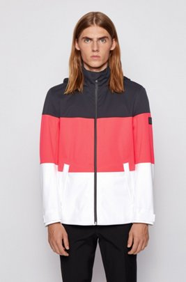 Regular-fit recycled fabric rain jacket with colour-block design, Black