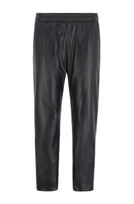 Regular-fit jogging trousers in faux leather, Black
