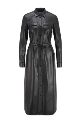 Long-sleeved shirt dress in faux leather, Black
