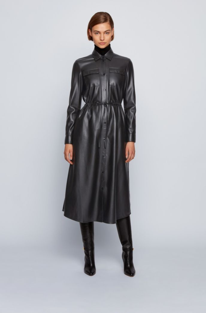 Long-sleeved shirt dress in faux leather