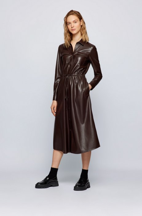 Long-sleeved shirt dress in faux leather, Dark Brown