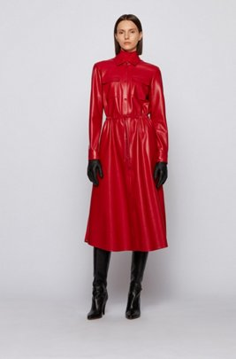 Long-sleeved shirt dress in faux leather, Red