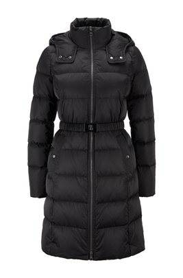 Long-length down coat with hood and belt detail, Black