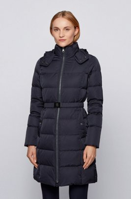 Long-length down coat with hood and belt detail, Dark Blue