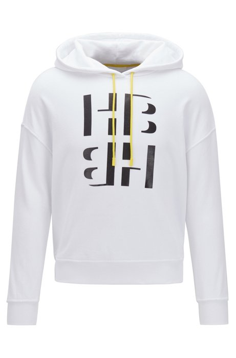 Relaxed-fit cotton-blend hoodie with monogram print, White