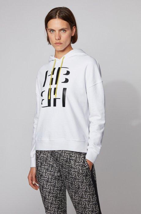 Kapuzen-Sweatshirt aus Terry mit Monogramm-Print, Weiß