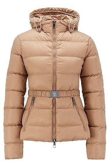 带条纹绗缝和腰带的修身版羽绒夹克,  235_浅棕色