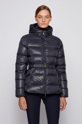 Slim-fit down jacket with baffle-quilting and belt, Dark Blue