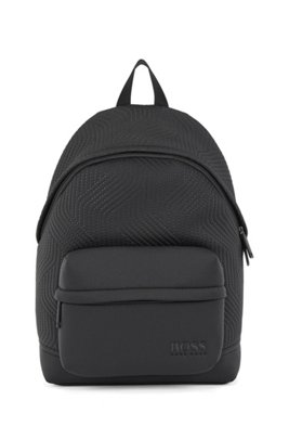 Logo backpack in neoprene with recycled materials, Black