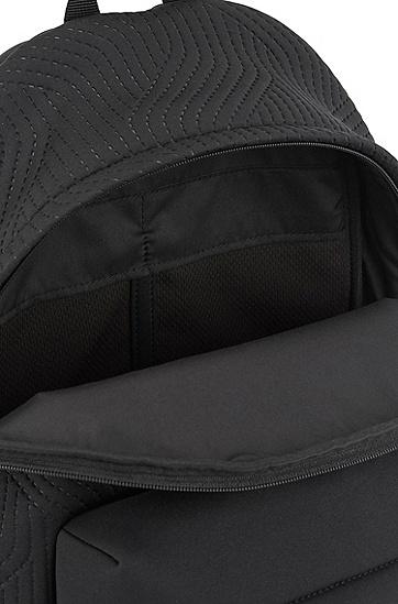 再生材质氯丁橡胶徽标装饰双肩包,  001_黑色