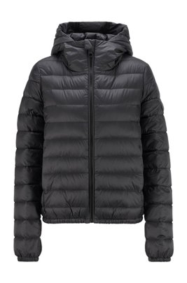 Packable down jacket in water-repellent fabric , Black