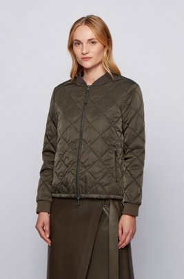 Water-repellent blouson-style jacket with diamond-quilted outer, Light Green