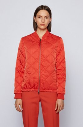 Water-repellent blouson-style jacket with diamond-quilted outer, Dark Orange