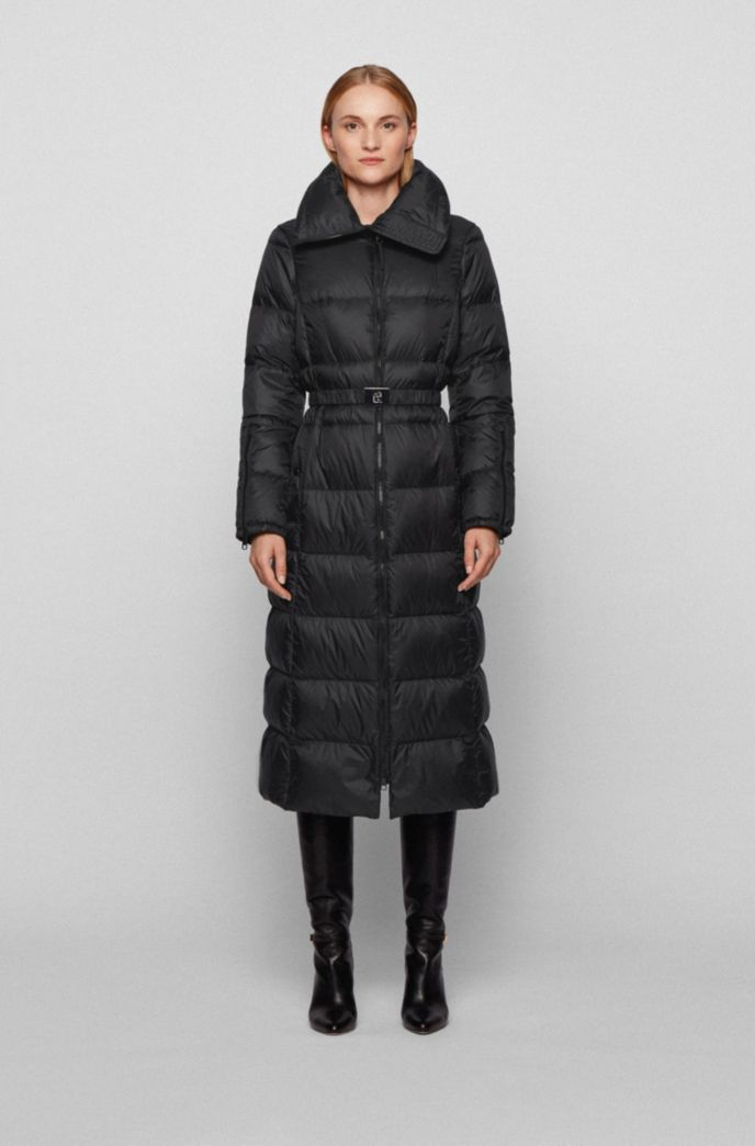 Long-line down jacket with water-repellent finish