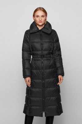 Long-line down jacket with water-repellent finish, Black