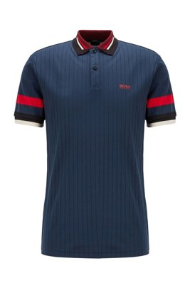 Slim-fit polo shirt in drop-needle cotton, Dark Blue