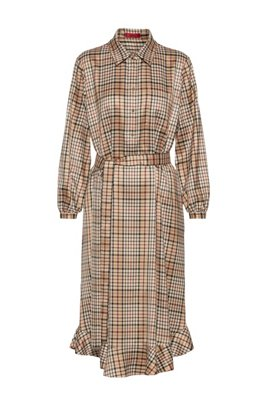 Checked relaxed-fit shirt dress with belt, Light Brown