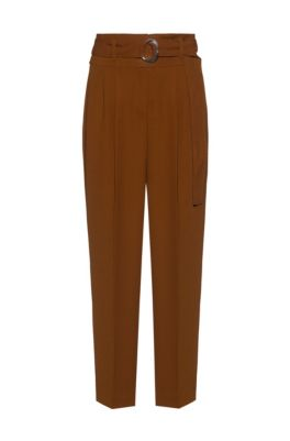 Relaxed-fit cropped trousers with hardware buckle, Brown
