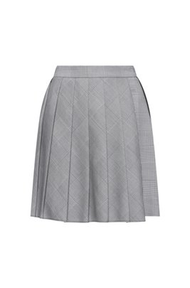 High-waisted shorts in Glen-check fabric with pleats, Light Blue
